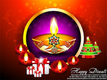 Diwali Background with gifts Vector illustration Stock Photo - Budget Royalty-Free & Subscription, Code: 400-07107707