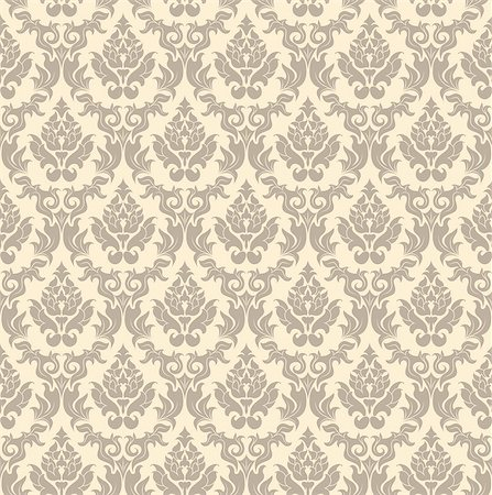 Damask seamless vector pattern.  For easy making seamless pattern just drag all group into swatches bar, and use it for filling any contours. Stock Photo - Budget Royalty-Free & Subscription, Code: 400-07107758