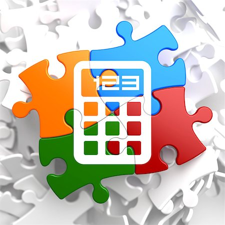 report icon - Icon of Calculator on Multicolor Puzzle. Stock Photo - Budget Royalty-Free & Subscription, Code: 400-07107991