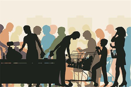 Editable vector colorful illustration of people in checkout queues in a busy supermarket Stock Photo - Budget Royalty-Free & Subscription, Code: 400-07100167