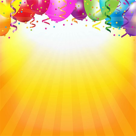 fun happy colorful background images - Frame With Colorful Balloons And Sunburst With Gradient Mesh, Vector Illustration Stock Photo - Budget Royalty-Free & Subscription, Code: 400-07101121