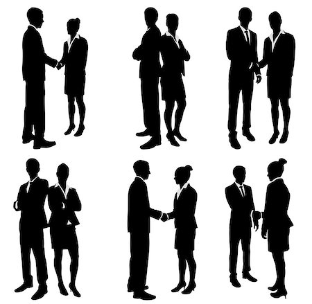 business people handshake silhouettes - vector Stock Photo - Budget Royalty-Free & Subscription, Code: 400-07101150