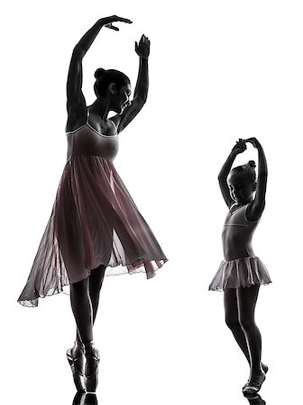 woman and  little girl   ballerina ballet dancer dancing in silhouette on white background Stock Photo - Budget Royalty-Free & Subscription, Code: 400-07101449