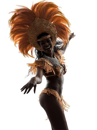 one african woman samba dancer  dancing silhouette  on white background Stock Photo - Budget Royalty-Free & Subscription, Code: 400-07101585