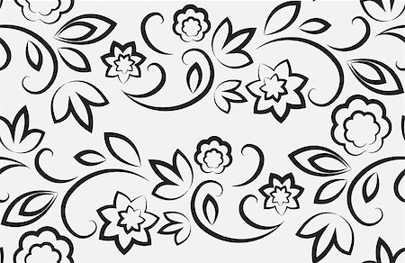 pzromashka (artist) - Seamless floral pattern. Black on a light gray background Stock Photo - Budget Royalty-Free & Subscription, Code: 400-07101827