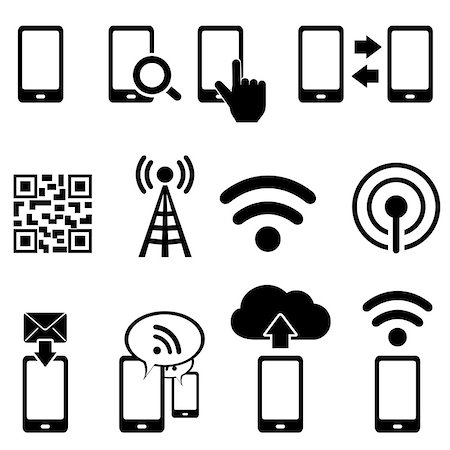 soleilc (artist) - Cell phone, wireless, mobile and wifi icon set Stock Photo - Budget Royalty-Free & Subscription, Code: 400-07102001