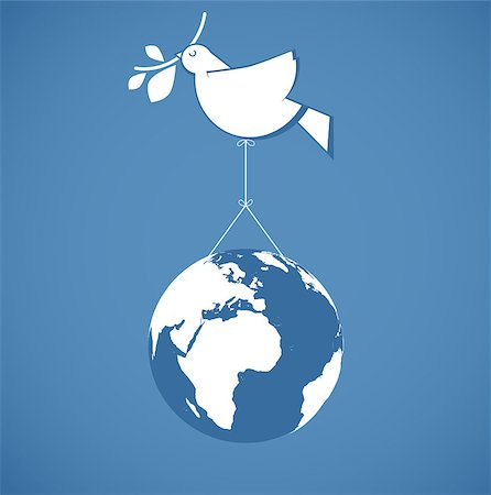 fly heart - white dove holding globe on a wire Stock Photo - Budget Royalty-Free & Subscription, Code: 400-07102104