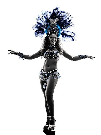 one caucasian woman samba dancer  dancing silhouette  on white background Stock Photo - Budget Royalty-Free & Subscription, Code: 400-07103119