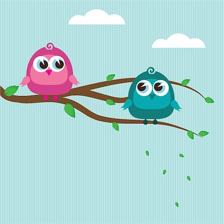 Two cute birds on the tree branch Stock Photo - Budget Royalty-Free & Subscription, Code: 400-07114375