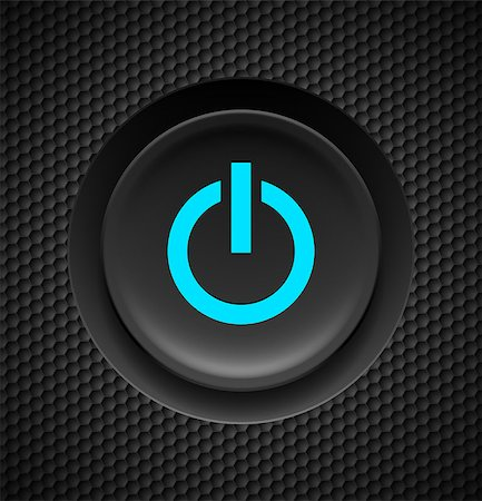 Black button with blue power sign on carbon background. Stock Photo - Budget Royalty-Free & Subscription, Code: 400-07114549