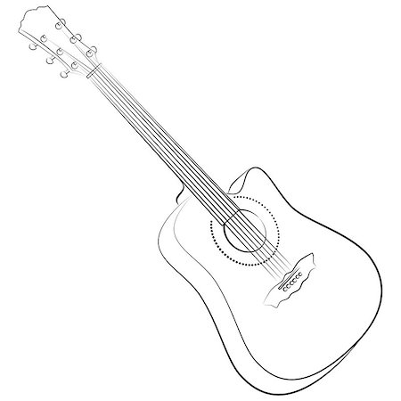 pzromashka (artist) - Acoustic guitar. Vector illustration colorless. sketch style Stock Photo - Budget Royalty-Free & Subscription, Code: 400-07114756