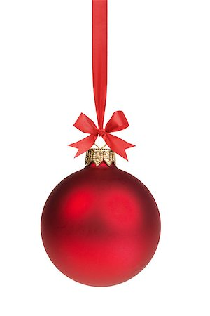 red christmas ball hanging on ribbon with bow, isolated on white Stock Photo - Budget Royalty-Free & Subscription, Code: 400-07114851