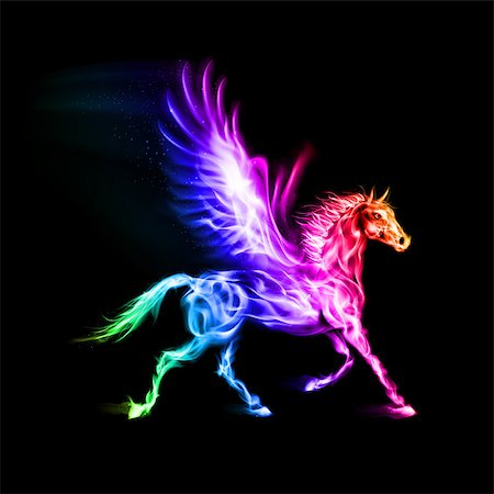 Fire Pegasus in spectrum colors on black background. Stock Photo - Budget Royalty-Free & Subscription, Code: 400-07116153