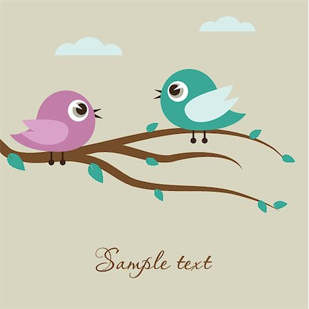 Two cute birds on the tree branch Stock Photo - Budget Royalty-Free & Subscription, Code: 400-07116419