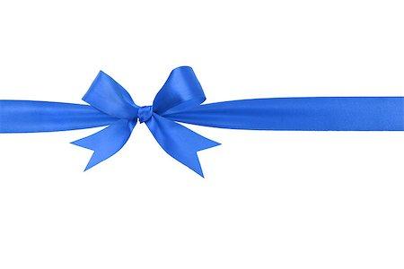 handmade blue ribbon bow horizontal border, isolated Stock Photo - Budget Royalty-Free & Subscription, Code: 400-07116644