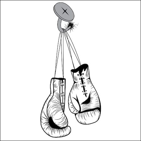svetap (artist) - Boxing gloves hang with laces nailed to wall as a business or sport concept of a person that retires give up the fight or prepares for competition. Vector illustration isolated on white background Stock Photo - Budget Royalty-Free & Subscription, Code: 400-07116722