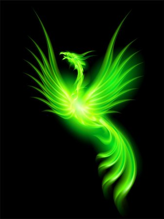 Illustration of green fire Phoenix on black background. Stock Photo - Budget Royalty-Free & Subscription, Code: 400-07116967