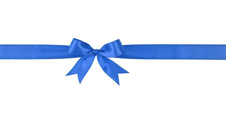 blue handmade ribbon with bow, isolated on white Stock Photo - Budget Royalty-Free & Subscription, Code: 400-07112344