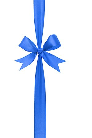 blue handmade ribbon with bow, isolated on white Stock Photo - Budget Royalty-Free & Subscription, Code: 400-07112349
