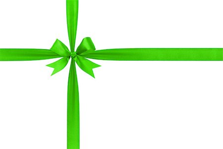 green simple tied ribbon bow composition, isolated on white Stock Photo - Budget Royalty-Free & Subscription, Code: 400-07112978