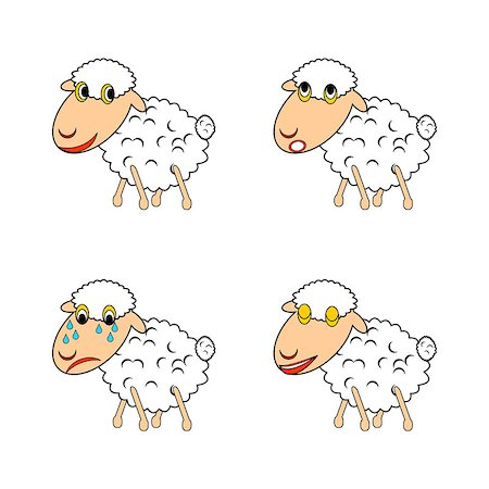 A funny sheep expressing different emotions. Vector-art illustration on a white background Stock Photo - Budget Royalty-Free & Subscription, Code: 400-07124979