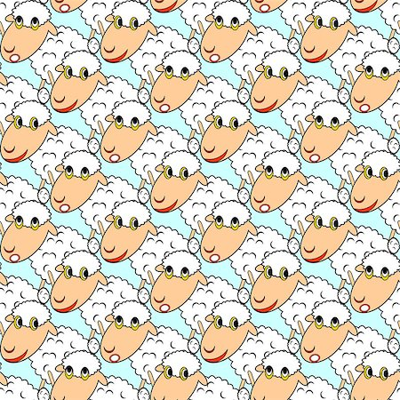 Design seamless pattern with cartoon sheeps. Vector art Stock Photo - Budget Royalty-Free & Subscription, Code: 400-07124980