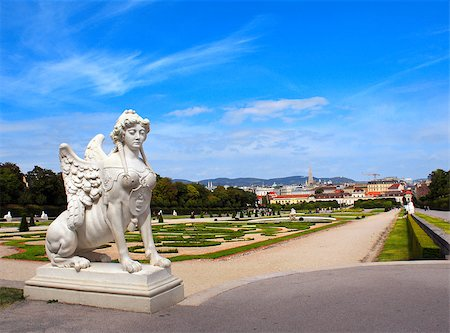 Sphinx statue and Belvedere garden, Vienna, Austria Stock Photo - Budget Royalty-Free & Subscription, Code: 400-07125085