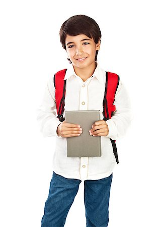 Happy schoolboy isolated on white background, cute brunet teenager with red backpack standing and holding book, pretty schoolkid wearing casual clothes, back to school, education and knowledge concept Stock Photo - Budget Royalty-Free & Subscription, Code: 400-07123466