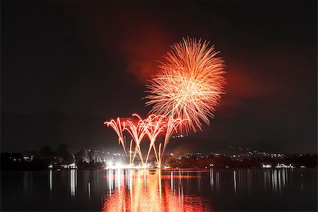 Fireworks on Monate Lake in a summer night, Varese - Italy Stock Photo - Budget Royalty-Free & Subscription, Code: 400-07167168