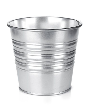 Metallic bucket. Isolated on white background Stock Photo - Budget Royalty-Free & Subscription, Code: 400-07168505