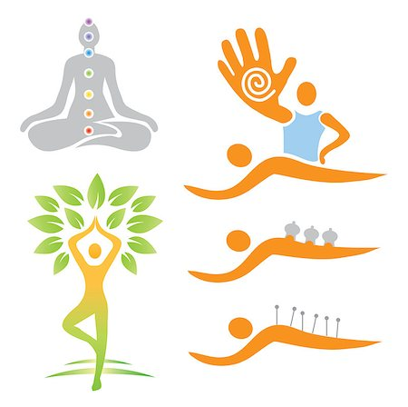 Illustrations of yoga and alternative medicine symbols. Vector illustration. Stock Photo - Budget Royalty-Free & Subscription, Code: 400-07169855