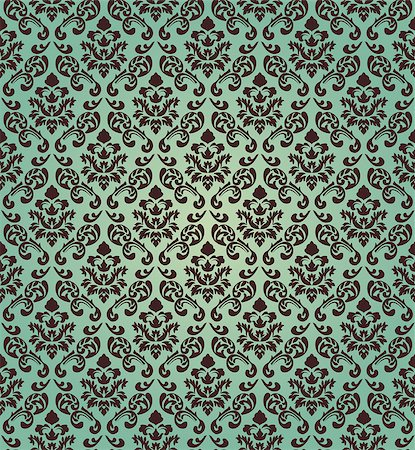 seamless floral - Damask seamless vector pattern.  For easy making seamless pattern just drag all group into swatches bar, and use it for filling any contours. Stock Photo - Budget Royalty-Free & Subscription, Code: 400-07175127