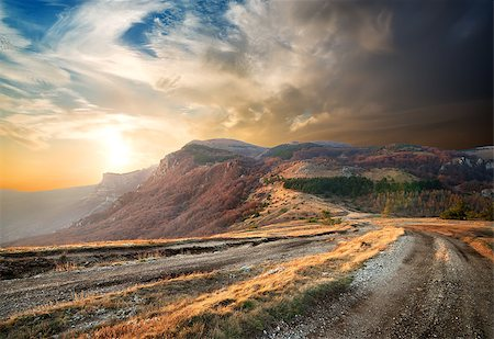 road landscape - Beautiful sunrise in the autumn mountains of Crimea Stock Photo - Budget Royalty-Free & Subscription, Code: 400-07175275