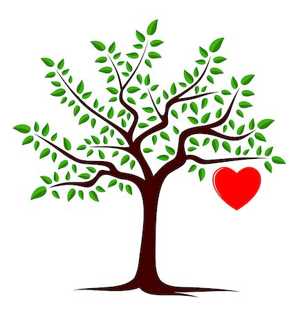 vector tree with one big heart isolated on white background, Adobe Illustrator 8 format Stock Photo - Budget Royalty-Free & Subscription, Code: 400-07175452