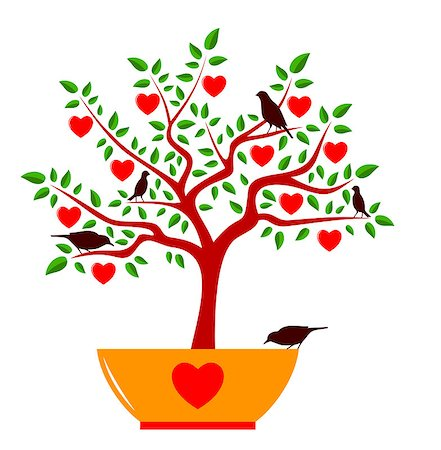 vector heart tree in pot and birds isolated on white background, Adobe Illustrator 8 format Stock Photo - Budget Royalty-Free & Subscription, Code: 400-07175759