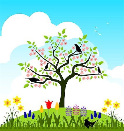 flores - vector bed of spring flowers and flowering tree with birds, Adobe Illustrator 8 format Stock Photo - Budget Royalty-Free & Subscription, Code: 400-07175941