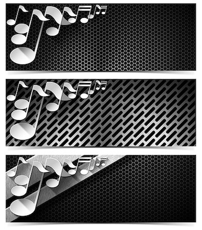 pic music note symbol - Set of three musical banners with metal texture and stylized white musical notes Stock Photo - Budget Royalty-Free & Subscription, Code: 400-07176569