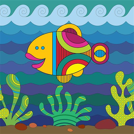 fun happy colorful background images - Stylize fantasy fish under water. Stock Photo - Budget Royalty-Free & Subscription, Code: 400-07171359