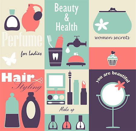 Vector collection stickers with cosmetics elements. Stock Photo - Budget Royalty-Free & Subscription, Code: 400-07171389