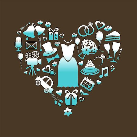 Set of turquoise and white silhouette wedding icons inside a heart shape Stock Photo - Budget Royalty-Free & Subscription, Code: 400-07171449