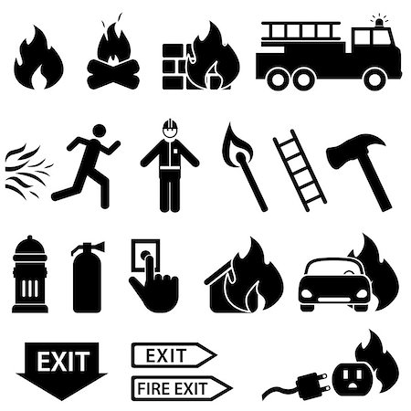 soleilc (artist) - Fire related icon set in black Stock Photo - Budget Royalty-Free & Subscription, Code: 400-07171675