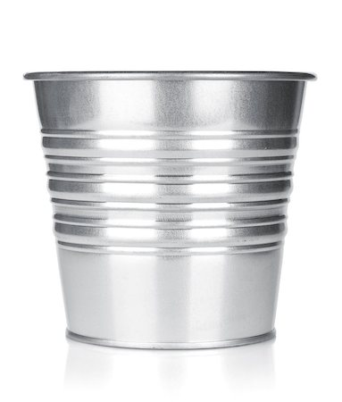 Metallic bucket. Isolated on white background Stock Photo - Budget Royalty-Free & Subscription, Code: 400-07172531