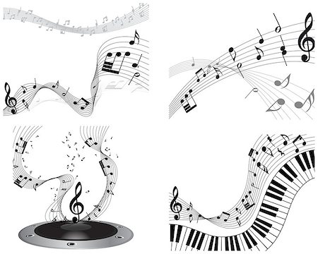 Musical note staff set. EPS 10 vector illustration without transparency. Stock Photo - Budget Royalty-Free & Subscription, Code: 400-07173844