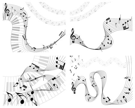 Musical note staff set. EPS 10 vector illustration without transparency. Stock Photo - Budget Royalty-Free & Subscription, Code: 400-07173841