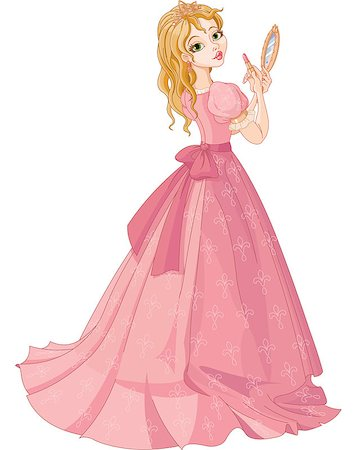 Illustration of fairytale princess putting on lipstick Stock Photo - Budget Royalty-Free & Subscription, Code: 400-07173922