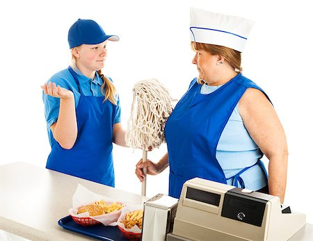 Adult woman working at a fast food job has to take orders from a teenage boss.  Isolated on white. Stock Photo - Budget Royalty-Free & Subscription, Code: 400-07180012