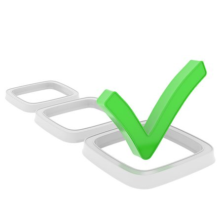 right - Checkboxes. Isolated render on a white background Stock Photo - Budget Royalty-Free & Subscription, Code: 400-07209774