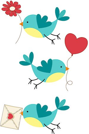 flying hearts clip art - Scalable vectorial image representing a cute three love birds, isolated on white. Stock Photo - Budget Royalty-Free & Subscription, Code: 400-07214159
