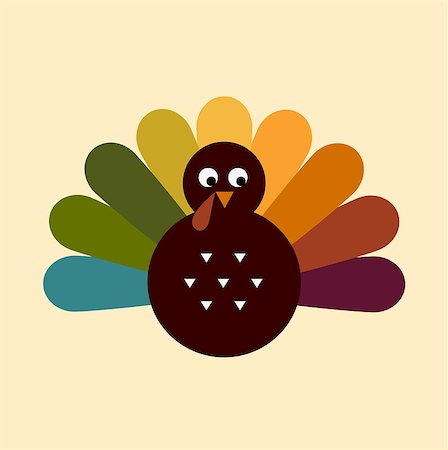 Colorful Thanksgiving Turkey. Vector cartoon Illustration Stock Photo - Budget Royalty-Free & Subscription, Code: 400-07214354