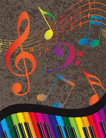 Wavy Abstract Piano Keyboard with Rainbow Colors Keys and Musical Notes Textured Background Illustration Stock Photo - Budget Royalty-Free & Subscription, Code: 400-07214601